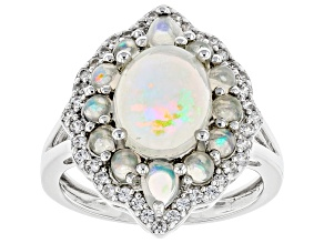Multicolor Ethiopian Opal Rhodium Over Sterling Silver Ring 2.81ctw