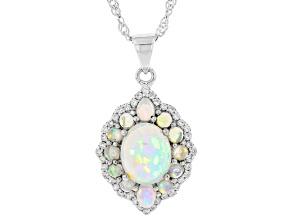 Multicolor Ethiopian Opal Rhodium Over Silver Pendant With Chain 2.81ctw