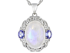 White Rainbow Moonstone Rhodium Over Silver Pendant With Chain 0.68ctw