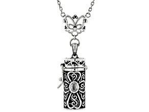 Wendy's Holiday Collection .22ct White Zircon & 2.00ctw Multi-Gem Silver Prayer Box Necklace