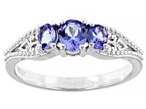 Oval Tanzanite Rhodium Over Sterling Silver 3-Stone Ring 0.504ctw