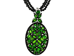 Green Chrome Diopside Rhodium Over Sterling Silver Enhancer with Bead Strand Necklace 7.76ctw