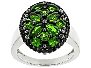 Robert's Holiday Collection Green Chrome Diopside Rhodium Over Silver Ring 2.62ctw
