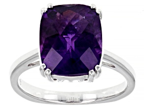 Purple African Amethyst Rhodium Over Sterling Silver Solitaire ring 4.05ctw