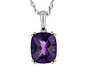 Purple African Amethyst Rhodium Over Sterling Silver Solitaire Pendant With chain 4.05ctw