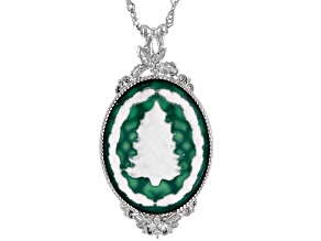 Green & White Agate Rhodium Over Sterling Silver Tree Cameo Pendant With Chain 0.11ctw