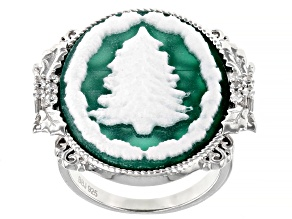 Green And White Agate Rhodium Over Sterling silver Tree Cameo Ring 0.23ctw