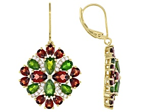 Green Chrome Diopside 18K Yellow Gold Over Silver Dangle Earrings 6.70ctw