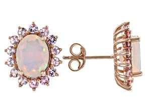 Multi-Color Ethiopian Opal 18k Rose Gold Over Sterling Silver Halo Earrings 2.48ctw