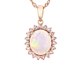 Multi-Color Ethiopian Opal 18k Rose Gold Over Sterling Silver Pendant With Chain 2.72ctw