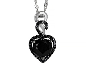 Black Spinel Rhodium Over Sterling Silver Pendant With Chain 2.78ctw