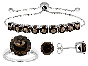 Smoky Quartz Rhodium Over Sterling Silver Ring, Earring And Bolo Bracelet Set 13.42ctw