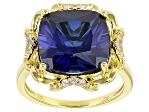 Blue Lab Created Sapphire 18K Yellow Gold Over Sterling Silver Ring 8.64ctw
