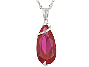 Red Lab Created Ruby Rhodium Over Silver Solitaire Pendant With Chain 6.80ct