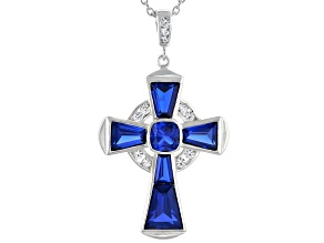Blue Lab Created Spinel Rhodium Over Silver Cross Pendant Chain 5.86ctw