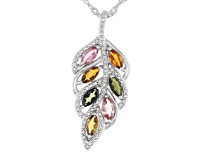 Multicolor Tourmaline Rhodium Over Sterling Silver Pendant With Chain 1.25ctw