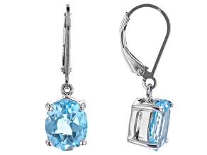Sky Blue Topaz Rhodium Over Sterling Silver Dangle Earrings 5.60ctw
