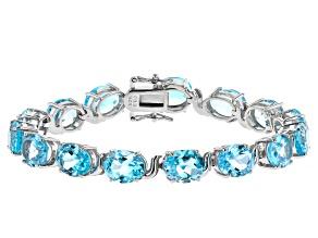 Sky Blue Topaz Rhodium Over Sterling Silver Bracelet 44.80ctw