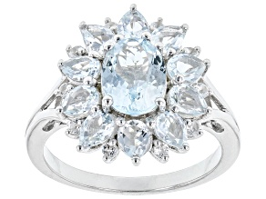 Mixed Shape Aquamarine With White Topaz Rhodium Over Sterling Silver Ring 2.33ctw