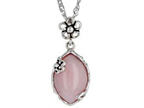 Marquise Pink Opal Rhodium Over Sterling Silver Pendant With Chain 15x10mm