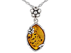 Orange Amber Sterling Silver Pendant With Chain