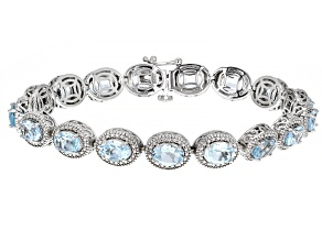 Sky Blue Topaz With Diamond Accent Rhodium Over Sterling Silver Tennis Bracelet 15.18ctw