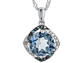 London Blue Topaz Rhodium Over Sterling Silver Pendant With Chain 4.39ctw