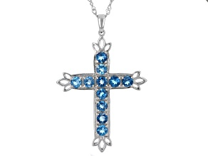 London Blue Topaz Rhodium Over Sterling Silver Cross Pendant With Chain 2.99ctw