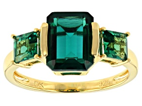 Green Lab Created Emerald 18k Yellow Gold Over Sterling Silver Ring 2.76ctw