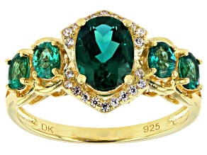 Green Lab Created Emerald 18K Yellow Gold Over Sterling Silver Ring 1.24ctw