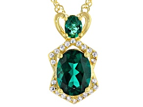 Green Lab Created Emerald 18K Yellow Gold Over Sterling Silver Pendant With Chain 1.33ctw