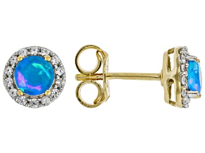 Paraiba Blue Color Opal 18K Yellow Gold Over Sterling Silver Stud Earrings 0.77ctw