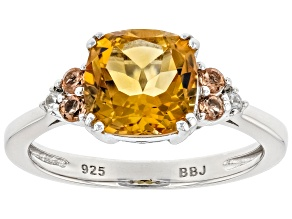 Golden Citrine Rhodium Over Sterling Silver Ring 1.95ctw