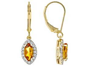 Orange Madeira Citrine 18k Yellow Gold Over Sterling Silver Dangle Earrings 1.16ctw