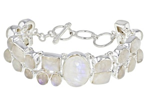 Cabochon Rainbow Moonstone .925 Sterling Silver Adjustable Multi-Row Bracelet