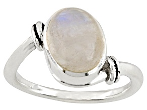 10x8mm Oval Cabochon Rainbow Moonstone .925 Sterling Silver Solitaire Ring