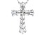 White Cubic Zirconia Rhodium Over Sterling Silver Cross Pendant With Chain 2.60ctw