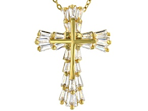 White Cubic Zirconia 18K Yellow Gold Over Sterling Silver Cross Pendant With Chain 2.60ctw