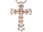 White Cubic Zirconia 18K Rose Gold Over Sterling Silver Cross Pendant With Chain 2.60ctw