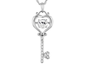 White Cubic Zirconia Rhodium Over Sterling Silver Dancing Key Pendant With Chain 1.90ctw