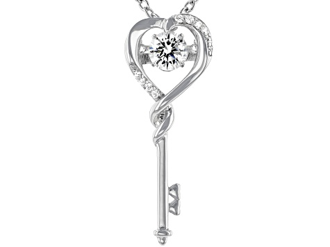 White Cubic Zirconia Rhodium Over Sterling Silver Key Pendant With Chain 0.95ctw