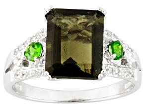 Green Moldavite Sterling Silver Ring 2.40ctw