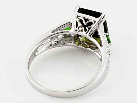 Green Moldavite Sterling Silver Ring 2.40ctw