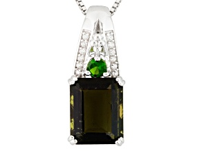 Green Moldavite Sterling Silver Pendant With Chain 3.17ctw