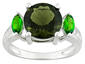 Green Moldavite Sterling Silver Ring 2.97ctw