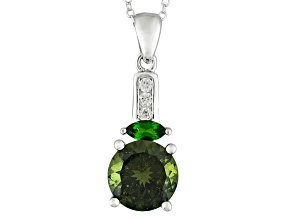 Green Moldavite Sterling Silver Pendant With Chain 2.65ctw