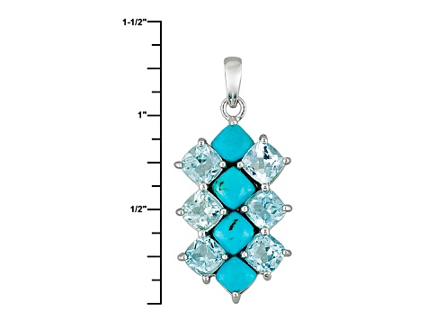 Blue Turquoise Sterling Silver Pendant With Chain 3.51ctw
