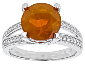Orange Mexican Fire Opal Sterling Silver Ring 2.39ctw