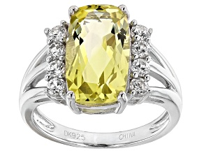 Canary Yellow Quartz Sterling Silver Ring 5.19ctw