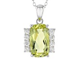 Canary Yellow Quartz Sterling Silver Pendant With Chain 5.19ctw